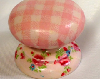 Baby pink gingham and ditsy flowers shabby chic knobs handles nursery armoire