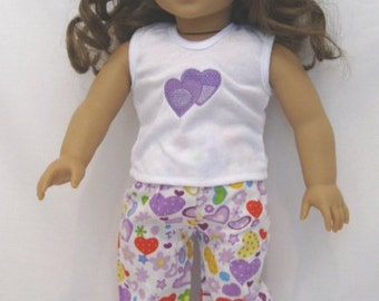 "American Girl or any 18"" doll  PJs"