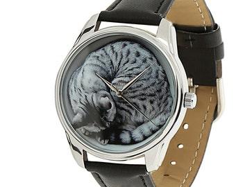 ZIZ Black Cat Wrist Watch / Cat Watch / Vegan Leather Watch / Bohemian Watch / Cat Lover Wrist Watch / Women's Watches / Men's Watch