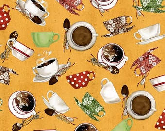 Coffee and Tea Cups on tan by Quilting Treasures