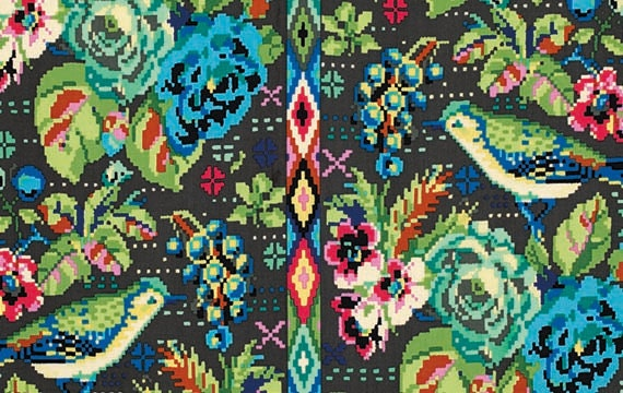Amy butler hapi celestial dusk green and blue by for Celestial fabric by the yard
