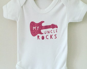 Babys my uncle rocks babygrow in glitter blue, pink, glitter gold or glitter black