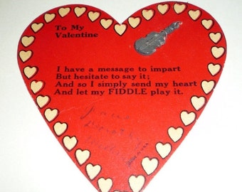 on sale Unusual Fiddle  Vintage Valentine With a Verse