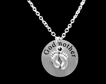 Godmother Gift, Baby Footprints Fee,t Will You Be My Godmother Gift Charm Necklace