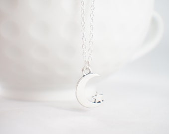 Crescent Moon Necklace - Moon & Star necklace - Moon necklace - Tiny Moon necklace