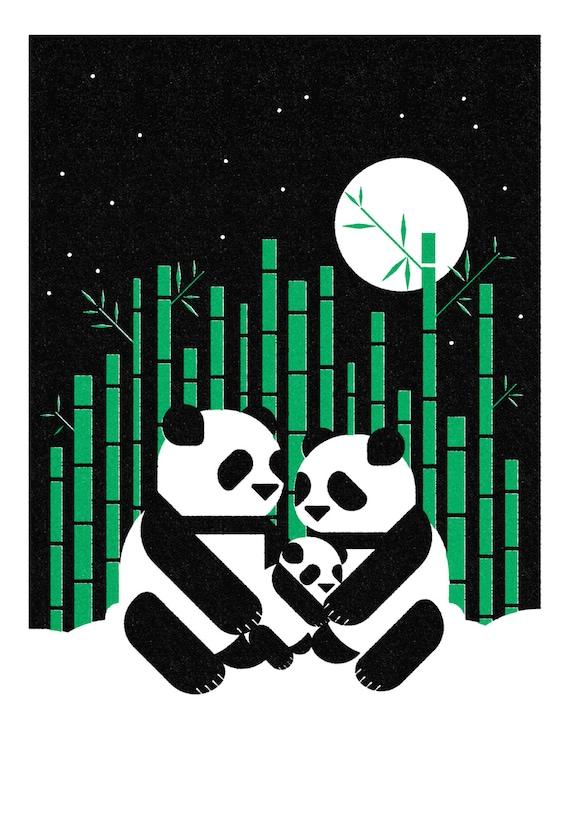 Pandas, Retro Print, Wall Art, Home Decor