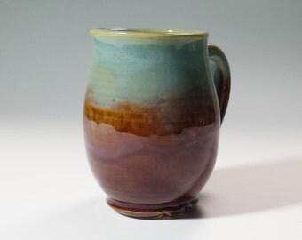 Turqupoise Ceramic Pottery Mug,12 oz. Coffee Mug,Unusual Mug,Unique Pottery Mug,Ready to Ship,turquoise pottery mug,brown ceramic mug