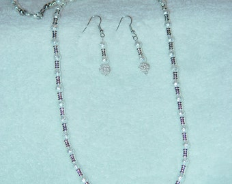 White Glass Pearl Necklace and Earrings Set
