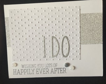 Silver and polka dot wedding card