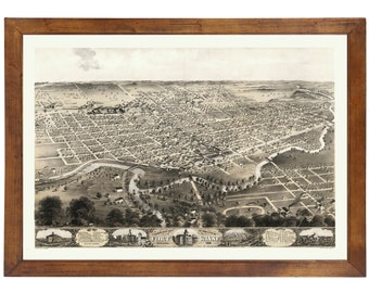 Fort Wayne, IN 1868 Bird's Eye View; 24x36 Print from a Vintage Lithograph