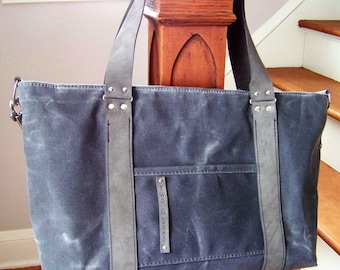 Ready to Ship / Diaper Bag / Charcoal Waxed Canvas and Solid Twill
