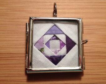 Purple Quilt Block Necklace
