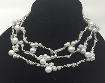 Multi-look metallic pearl necklace