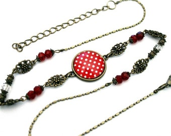 """Bohemian headband with cabochon """"white polka dots on red background' bronze brass vintage"""