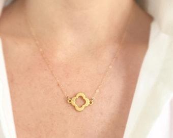 Necklaces- Gold Clover Necklace- Quatrefoil Necklace- Gold Necklace- Good Luck Necklce- Layering Necklace- Pendants