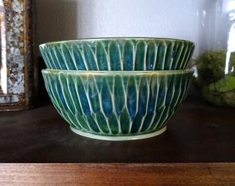 Carved Emerald Bowls (Set of 2)