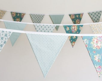 Teal wedding bunting ~ vintage style fabric flags ~ green & cream floral wedding decoration ~ venue dressing garland ~ country barn marquee