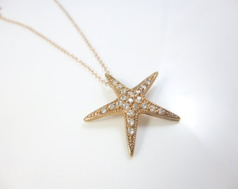 Sterling Silver Starfish Necklace, Rose gold Necklace, Starfish Charm, Beach Jewelry