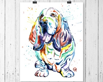 BASSET HOUND PRINT, Basset Hound Art, Basset Hound watercolour, Dog Art, Dog lover, Pet Portrait, Dog Watercolour, Basset Hound Watercolour