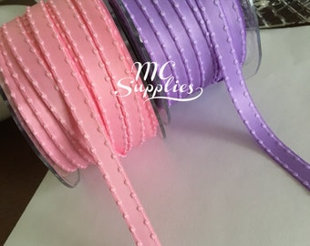 "3 yards 3/8"" satin ribbon,knotted edge ribbon,bridal shower,weddings,embellishment,hair bows,scrapbooking,well dressed wolf,matilda Jane"
