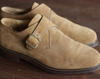 Vintage mens Bally tan suede shoes with gold buckle size 43/12