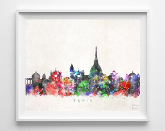 Turin Skyline Print, Italy Print, Turin Poster, Italian Cityscape, Watercolor Painting, Wall Art, Decor, Dorm Decor, Back To School