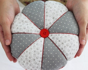 Jumbo Pin Cushion, Large Patchwork Pincushion, Extra Large Gray and Red Pin Cushion, Red and White Felt Pincushion
