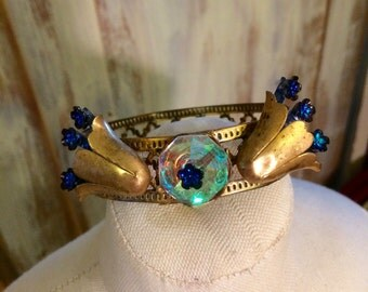 Jeweled Crown for a santo or statue - small headpiece - crown - Santo crown - metal crown for home decor - mixed media crown - altered metal