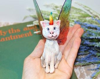 Unikitty Art Doll, Kitten Sculpture, OOAK Polymer Clay Uni-kitty