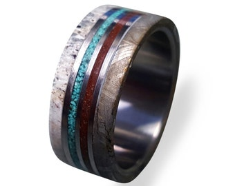 Meteorite Ring, Titanium Ring with Gibeon Meteorite, Deer Antler and Dinosaur Fossil and Turquoise Inlays, Mens Ring, Womens Ring, Mens Band