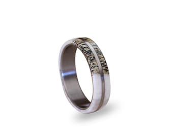 Titanium Men Ring With Deer Antler, Antler On A Titanium Ring, Bone Ring
