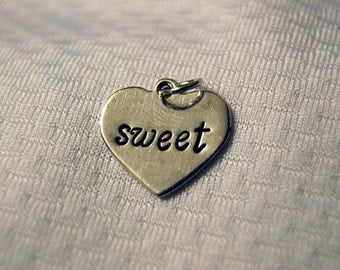 "Sterling Silver ""sweet"" Heart Charm"