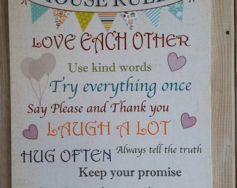 House Rules Wooden Plaque home decor