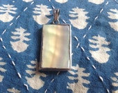 Vintage Mother of Pearl pendant set in sterling silver from India, Mother of pearl pendant, silver pendant, boho pendant