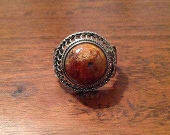 Old Amber Ring, Uzbek silver ring, Amber ring