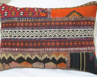 "Turkish Hand stitched patchwork kilim pillow cover 14""x20"""