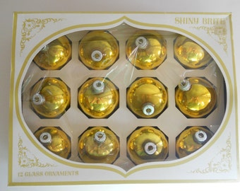 Gold Shiny Brite Christmas Ornaments