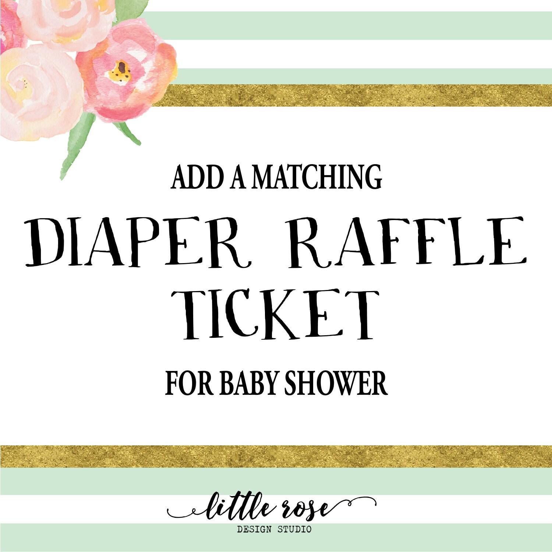 diaper raffle tickets baby shower diaper by littlerosestudio