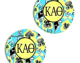 kappa alpha theta letter stud dangle earrings influenced by lilly pulitzer