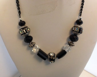 Black beaded chain necklace 36