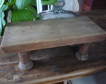 Large Vintage Handmade Cutting Board Pedestal Plant Stand Serving Tray