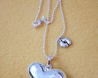Long necklace rhodium Bola bola Mexican heart!