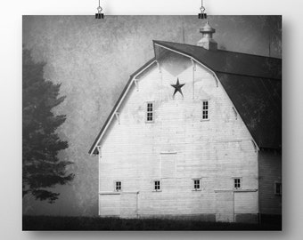 Black and White Barn Landscape Rustic Home Decor Country Decor Farmhouse Decor White Barn Print Rustic White Barn Farmhouse Art Barn Art