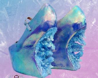 crystal cascade- iridescent custom made heels heel less shoes one of the kind, Pastel Goth, Fairy Kei, Kawaii,cute,harajuku, alternative