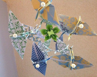 Blue Green Cranes mobile- Origami Mobile - Baby Mobile - Decoration