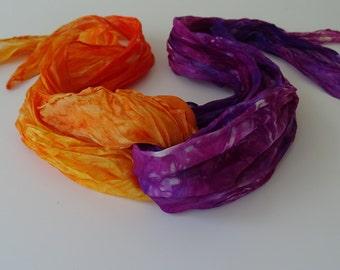 Hand painted Silk Scarf Handmade set of 2 silks Purple Orange scarf Silk ruffled scarves Hand painted silk accessory silk scarf pongee 40in.