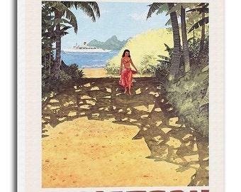 Fiji Travel Poster Vintage Art Canvas Print Hanging Retro Wall Decor xr840
