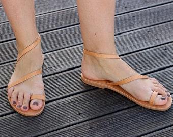 Leather Sandals, Handmade Greek Leather Sandals, Natural Color sandals, Women's