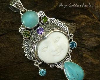 925 Silver Mixed Gemstone Goddess Pendant NG-1241