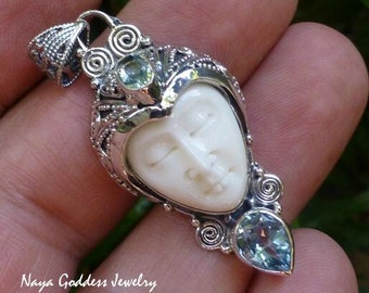 Silver and Blue Topaz Gemstone Goddess Pendant NG-1271